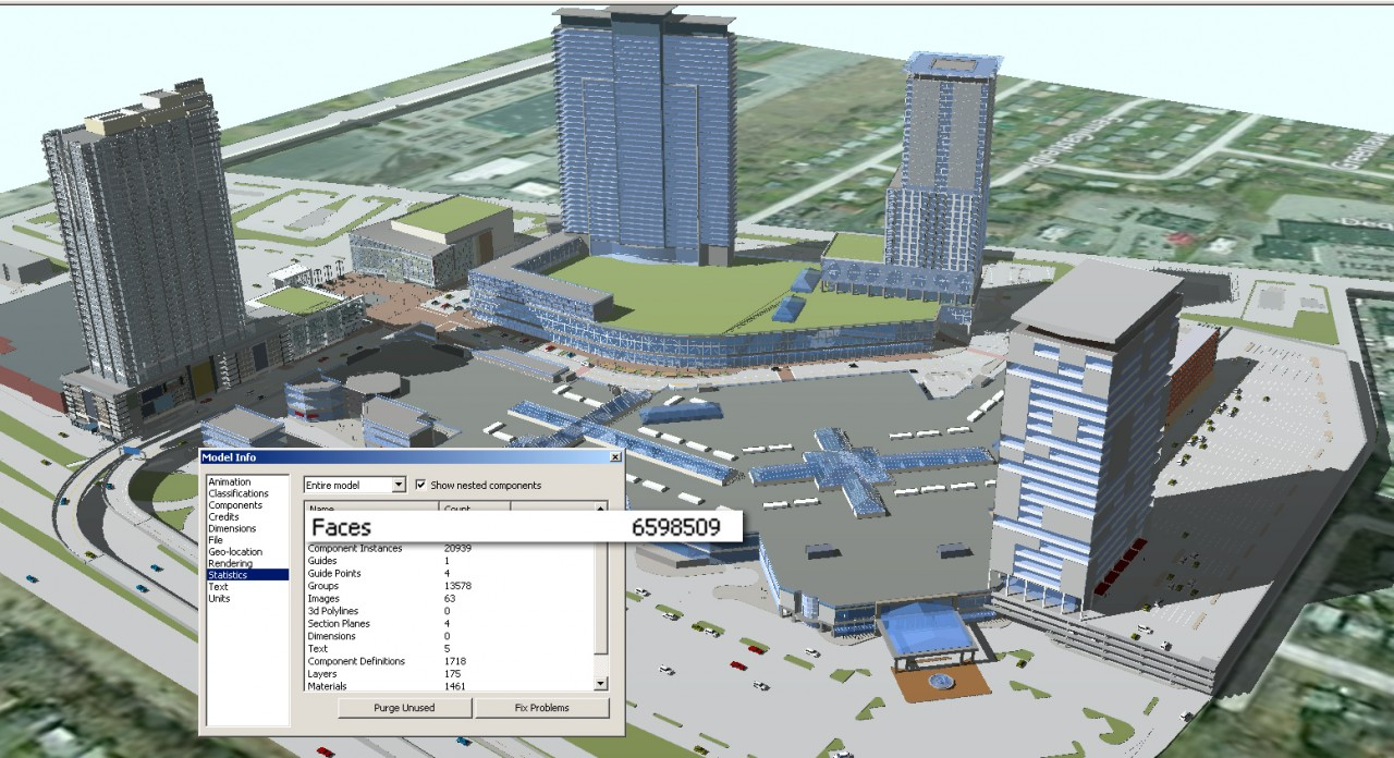 Optimizing SketchUp performance. The Model Info window shows the model has over 6 million (!) faces and polygons (click to enlarge).