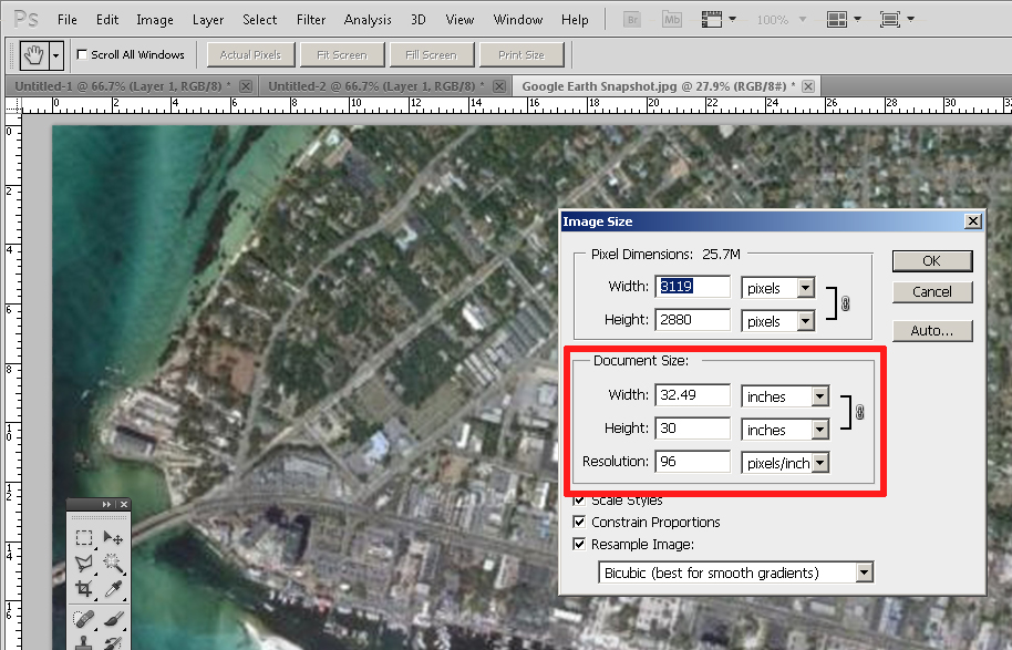 Adjust the SketchUp aerial image size once in Photoshop