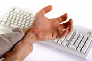 sore hand with keyboard