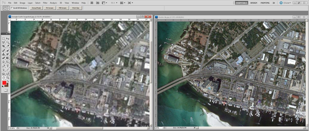 High-res aerial and low-res aerial both open in Photoshop