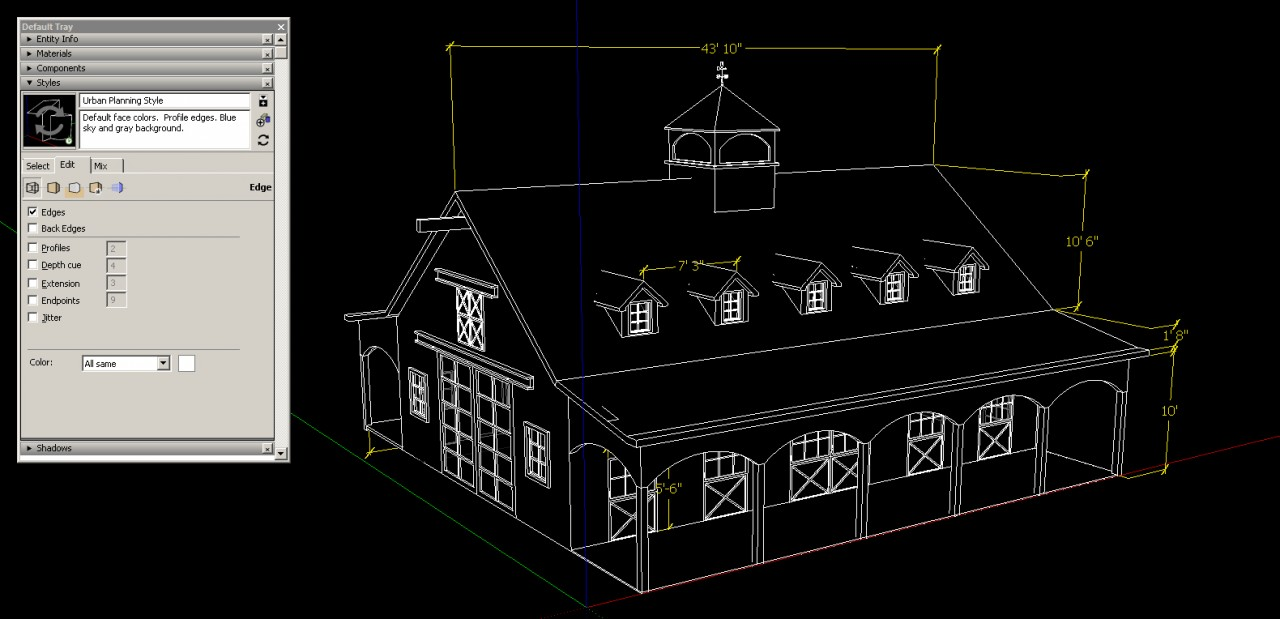 sketchup graphics and styles Cad Style
