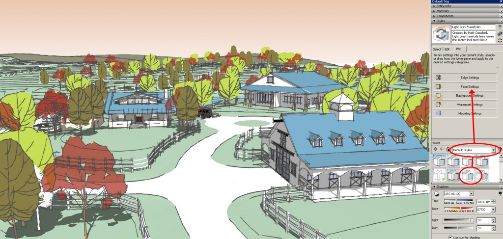 sketchup graphics and styles Light Grey Free Style with color