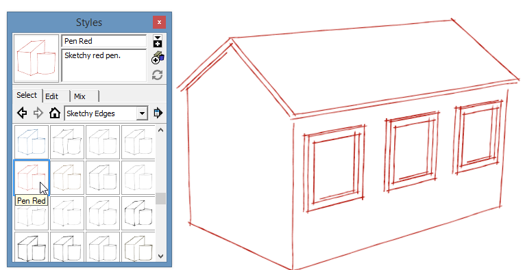 sketchup graphics and styles RedPen