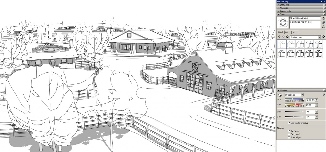 sketchup graphics and styles Straight Edge Style - thin