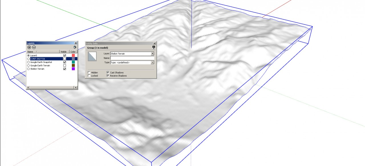 SketchUp Skelion Extension. Place the Skelion terrain on a layer