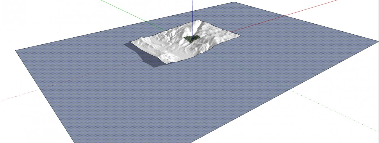 SketchUp Skelion Extension. Draw a rectangle under the Skelion terrain. Make it larger then the terrain in area.