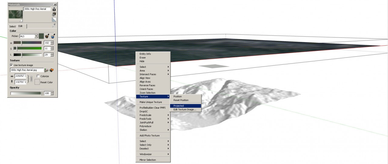 SketchUp Skelion Extension. Cross section showing the large aerial, the smaller Location aerial and the Skelion terrain