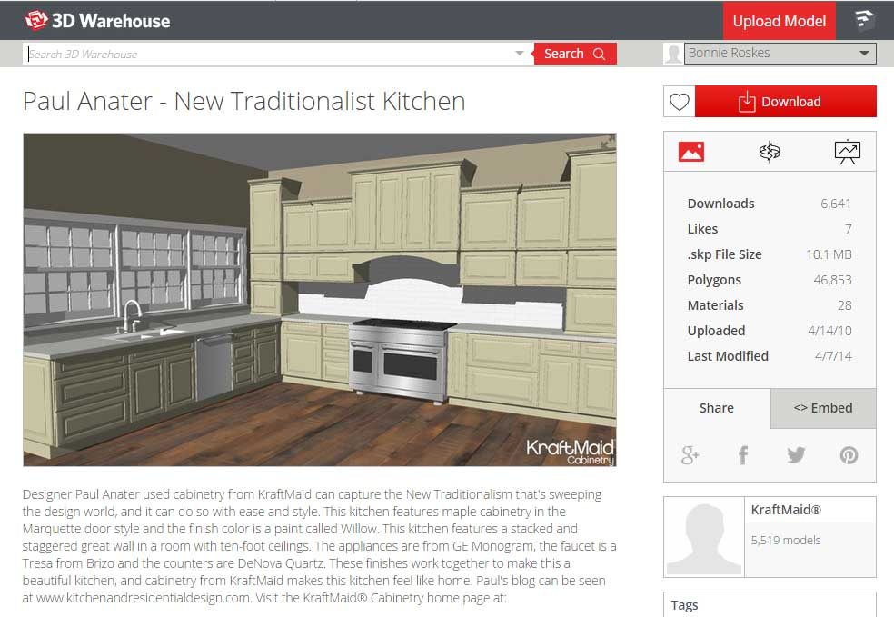 Sketchup Groups and Materials Kitchen Counter 01