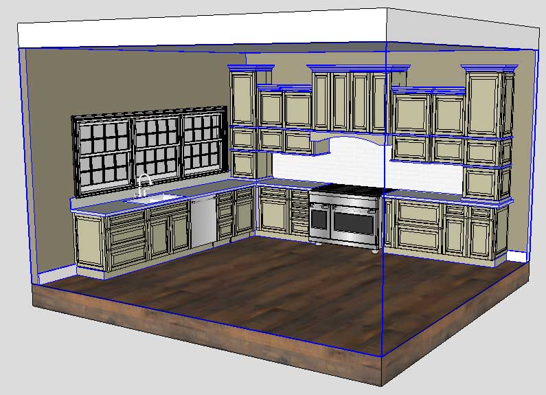 Sketchup Groups and Materials Kitchen Counter 02