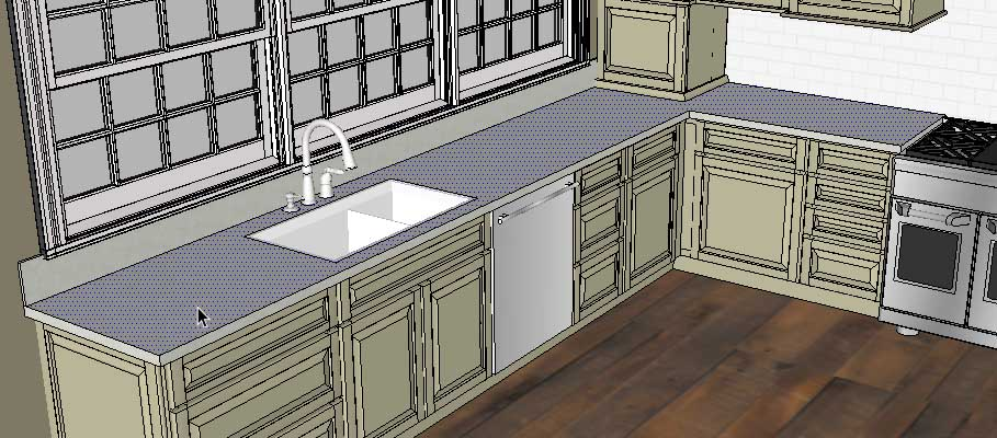 Sketchup Groups and Materials Kitchen Counter 04