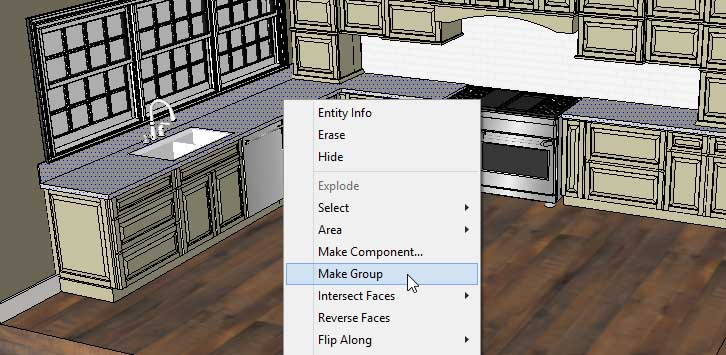 Sketchup Groups and Materials Kitchen Counter 09