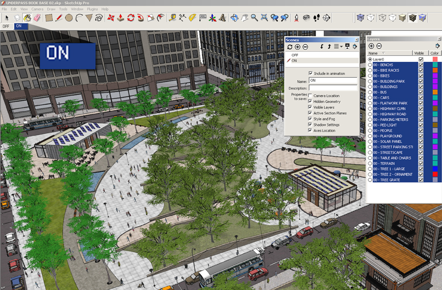 SketchUp Layers 01 - On Scene