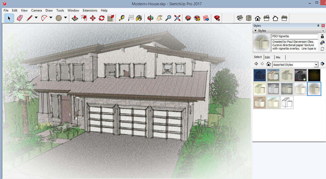 SketchUp Artists Styles: Part 1 - Download Free Styles